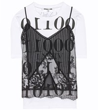 Mcq By Alexander Mcqueen Cotton And Lace T Shirt Black
