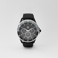 River Island Black Rubber Strap Round Bezel Watch