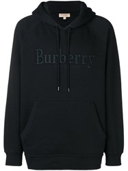 Burberry Logo Embroidered Hoodie Black