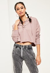 Missguided Purple Lace Up Detail Cropped Hoodie Nude