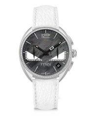 Fendi Momento Bug Diamond Black Mother Of Pearl And Leather Strap Watch Black White