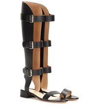 Francesco Russo Leather Gladiator Sandals Black