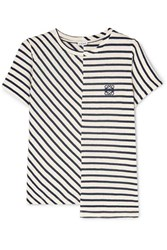 Loewe Asymmetric Embroidered Striped Cotton Jersey T Shirt Navy