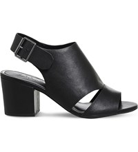 Office Mantra Leather Peep Toe Sandals Black Leather