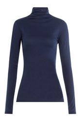Velvet Cotton Turtleneck Blue