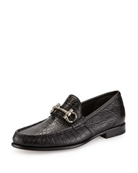 Salvatore Ferragamo Mason 2 Crocodile Gancini Loafer Black Men's