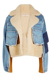 Natasha Zinko Shearling And Denim Cropped Jacket Multicolored