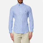 Polo Ralph Lauren Men's Stripe Slim Fit Long Sleeve Linen Shirt Blue