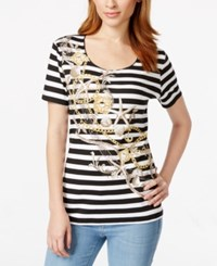 Karen Scott Short Sleeve Embellished Graphic Top Only At Macy's Deep Black