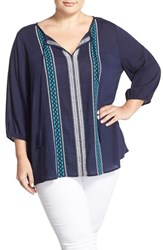 Plus Size Women's Caslon Embroidered Split Neck Peasant Blouse Navy Teal Embroidery