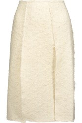 Nina Ricci Pleated Cotton Blend Tweed And Silk Georgette Skirt Off White