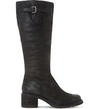 Dune Tedmund Knee High Distressed Leather Boots Black Leather
