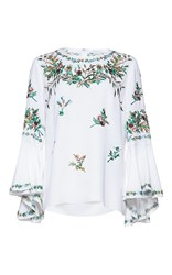 Andrew Gn Flutter Sleeve Floral Top White