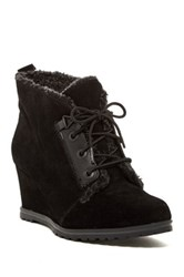 Ellen Tracy El Torino Faux Fur Wedge Bootie Black