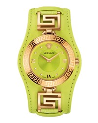 Versace V Signature Watch W Leather Strap Golden Yellow