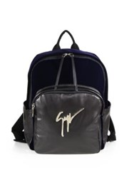 Giuseppe Zanotti Velvet And Leather Backpack Blue Black