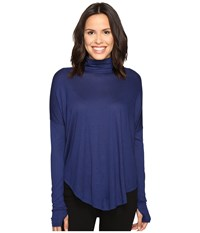 Michael Michael Kors Long Sleeve Drop Shoulder Turtleneck Sapphire Women's Clothing Blue