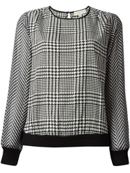 Michael Michael Kors Houndstooth Print Blouse Black