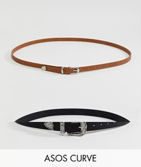Asos Design Curve 2 Pack Western Waist And Hip Belts In Water Based Pu Multi