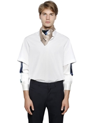 Iceberg Cotton Poplin And Printed Silk Shirt White