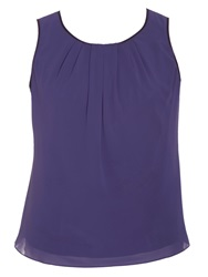 Chesca Plus Size Satin Trimmed Camisole Blue