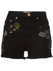 One Teaspoon Birds Of Paradise Embroidered Denim Shorts Black