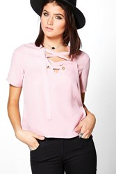 Boohoo Woven Lace Up Short Sleeve T Shirt Mauve