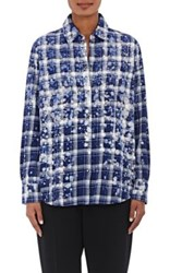 Roseanna Women's Bleached Plaid Flannel Shirt Navy
