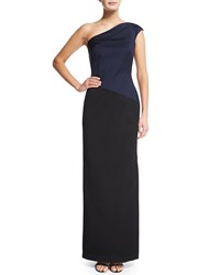 Shoshanna One Shoulder Colorblock Satin Gown Women's Jet Navy