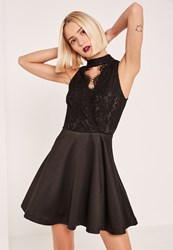 Missguided Black Lace Keyhole Skater Dress