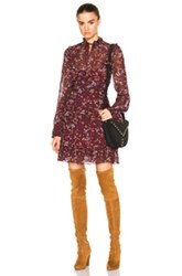 Nicholas Maple Yoke Dress In Red Floral Red Floral