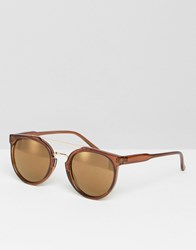 Asos Round Sunglasses With Nose Bar In Brown Brown
