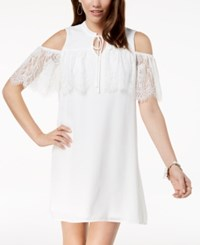 As U Wish Juniors' Lace Trimmed Cold Shoulder Dress Ivory