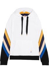 P.E Nation Dr. J Striped Cotton Jersey Hooded Sweatshirt White
