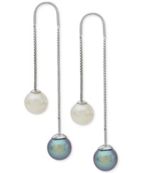 Honora Style Gray And White Cultured Freshwater Pearl 8Mm Threader Earrings In Sterling Silver