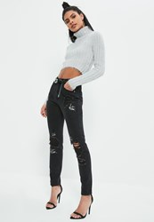 Missguided Black Swallow Embroidered Jeans