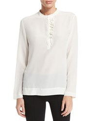 Peserico Long Sleeve Ruffle Front Top Ivory