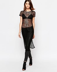 Vero Moda Lace Tunic With Side Splits Black