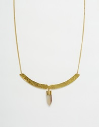 Made Stone Collar Necklace Gold