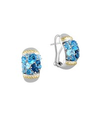 Effy Sterling Silver 18K Yellow Gold And Blue Topaz Omega Earrings