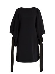 Marni Cuff Tie Batwing Sleeved Cady Tunic Dress Navy