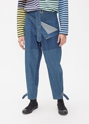 J.W.Anderson Jw Anderson 'S Shaded Fold Front Denim Trouser Pants In Mid Blue Size 46 100 Cotton
