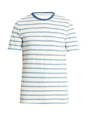 Faherty Crew Neck Striped Cotton T Shirt White Multi
