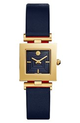 Tory Burch Women's Sawyer Leather Strap Watch 25Mm Tory Navy Parrot Red