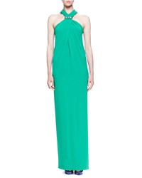 Lanvin Crystal Detailed Twisted Halter Maxi Dress Mint Green
