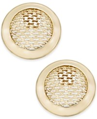 Charter Club Gold Tone Textured Button Stud Earrings Only At Macy's