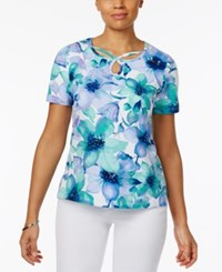 Alfred Dunner Watercolor Print Embellished Top Blue Multi