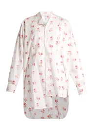 Loewe Asymmetric Rose Print Cotton Shirt White Multi