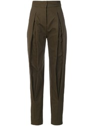 Capucci High Waisted Tailored Trousers Cotton Polyamide Polyester Spandex Elastane Green