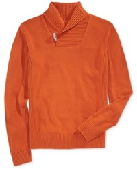 Sean John Men's Toggle Shawl Collar Sweater Cinnamon Stick